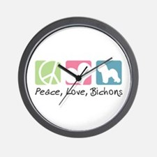 Peace, Love, Bichons Wall Clock