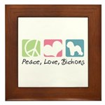 Peace, Love, Bichons Framed Tile
