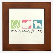 Peace, Love, Bichons Framed Tile