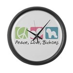 Peace, Love, Bichons Large Wall Clock