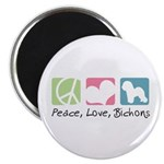 Peace, Love, Bichons Magnet