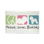 Peace, Love, Bichons Rectangle Magnet (10 pack)