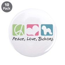 "Peace, Love, Bichons 3.5"" Button (10 pack)"