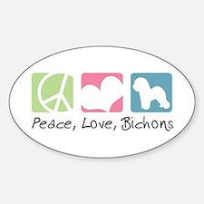 Peace, Love, Bichons Sticker (Oval)