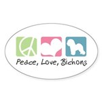 Peace, Love, Bichons Sticker (Oval 10 pk)