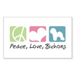Peace, Love, Bichons Sticker (Rectangle 50 pk)