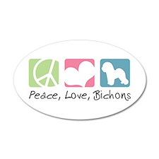 Peace, Love, Bichons 22x14 Oval Wall Peel