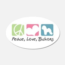 Peace, Love, Bichons 22x14 Oval Wall Peel