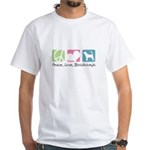 Peace, Love, Bloodhounds White T-Shirt