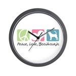 Peace, Love, Bloodhounds Wall Clock