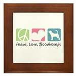 Peace, Love, Bloodhounds Framed Tile