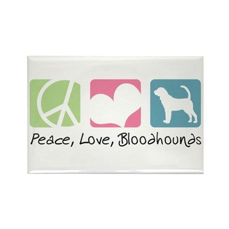 Peace, Love, Bloodhounds Rectangle Magnet (10 pack