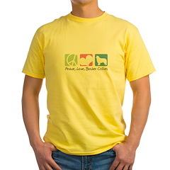 Peace, Love, Border Collies Yellow T-Shirt