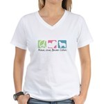 Peace, Love, Border Collies Women's V-Neck T-Shirt