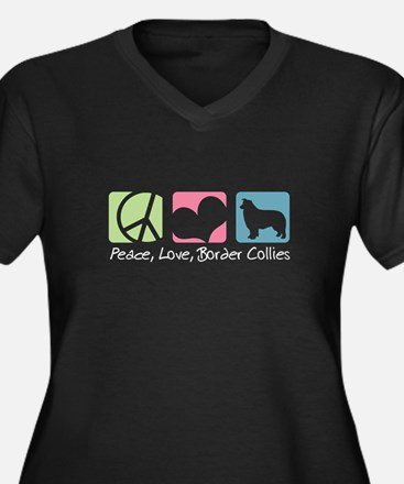 Peace, Love, Border Collies Women's Plus Size V-Ne