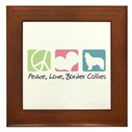 Peace, Love, Border Collies Framed Tile