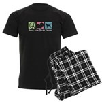 Peace, Love, Border Terriers Men's Dark Pajamas