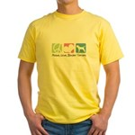 Peace, Love, Border Terriers Yellow T-Shirt