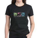 Peace, Love, Border Terriers Women's Dark T-Shirt
