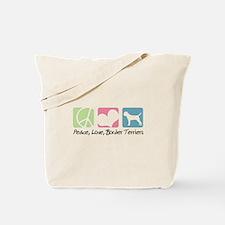 Peace, Love, Border Terriers Tote Bag
