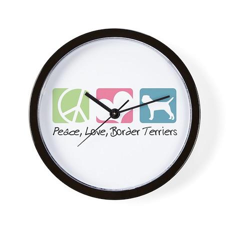 Peace, Love, Border Terriers Wall Clock