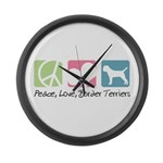 Peace, Love, Border Terriers Large Wall Clock