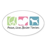 Peace, Love, Border Terriers Sticker (Oval 50 pk)