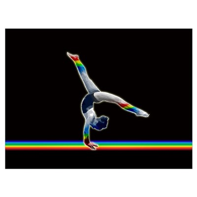 Gymnast on a Rainbow Beam Poster