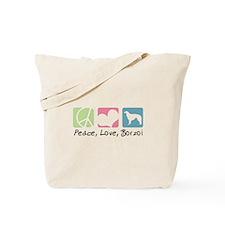 Peace, Love, Borzoi Tote Bag