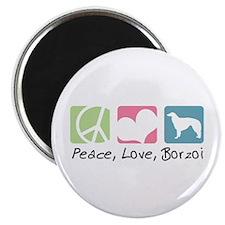 Peace, Love, Borzoi Magnet
