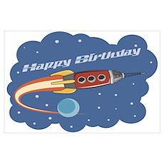 Rocketship Birthday Party Poster