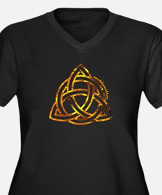 Celtic Holy Trinity Flames Women's Plus Size V-Nec