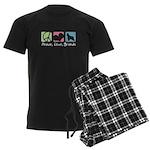 Peace, Love, Briards Men's Dark Pajamas
