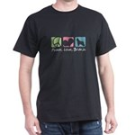 Peace, Love, Briards Dark T-Shirt