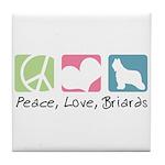 Peace, Love, Briards Tile Coaster