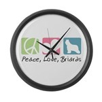 Peace, Love, Briards Large Wall Clock