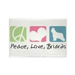 Peace, Love, Briards Rectangle Magnet (100 pack)