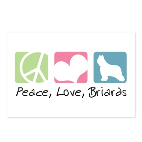 Peace, Love, Briards Postcards (Package of 8)