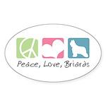Peace, Love, Briards Sticker (Oval 50 pk)