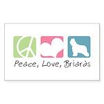 Peace, Love, Briards Sticker (Rectangle 50 pk)