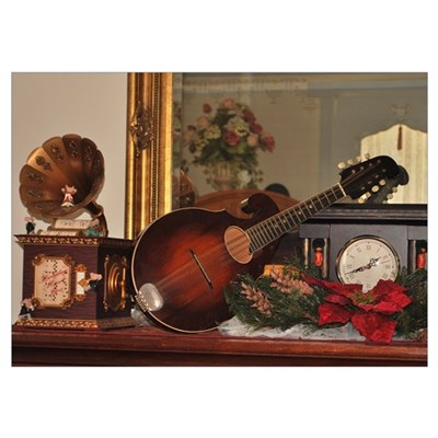 Christmas Mandolin and Clock Poster