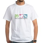 Peace, Love, Brussels Griffon White T-Shirt