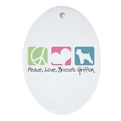 Peace, Love, Brussels Griffon Ornament (Oval)