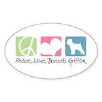 Peace, Love, Brussels Griffon Sticker (Oval 50 pk)