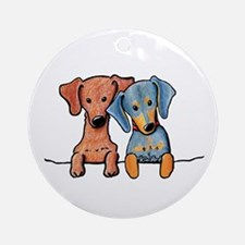 Pocket Doxie Duo Ornament (Round)