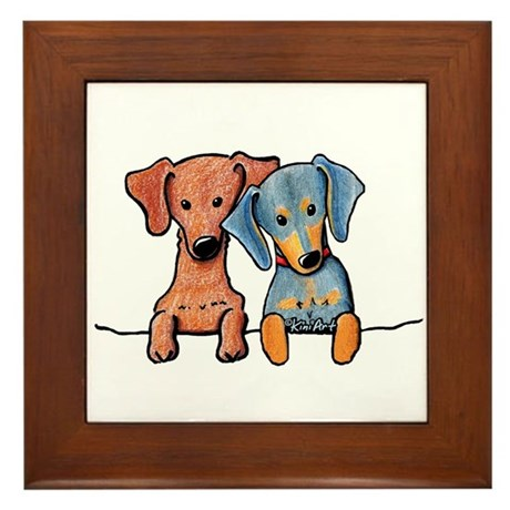 Pocket Doxie Duo Framed Tile