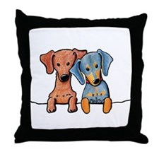 Pocket Doxie Duo Throw Pillow