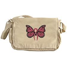 Breast Cancer Butterfly Messenger Bag