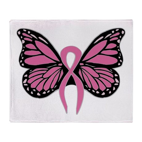 Breast Cancer Butterfly Throw Blanket