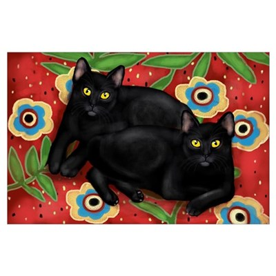 BLACK CATS FLOWERS Poster